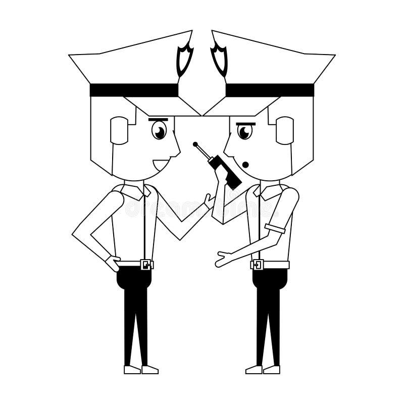 Policemen working avatar cartoon character in black and white. Two policemen working policeman using radio communicator avatar cartoon character vector royalty free illustration