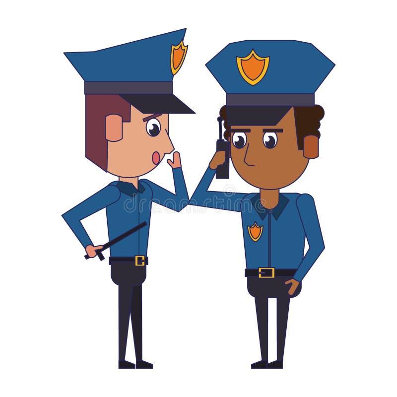 Policemen working avatar cartoon character blue lines. Two policemen working afroamerican policeman using a radio communicator the avatar cartoon character royalty free illustration