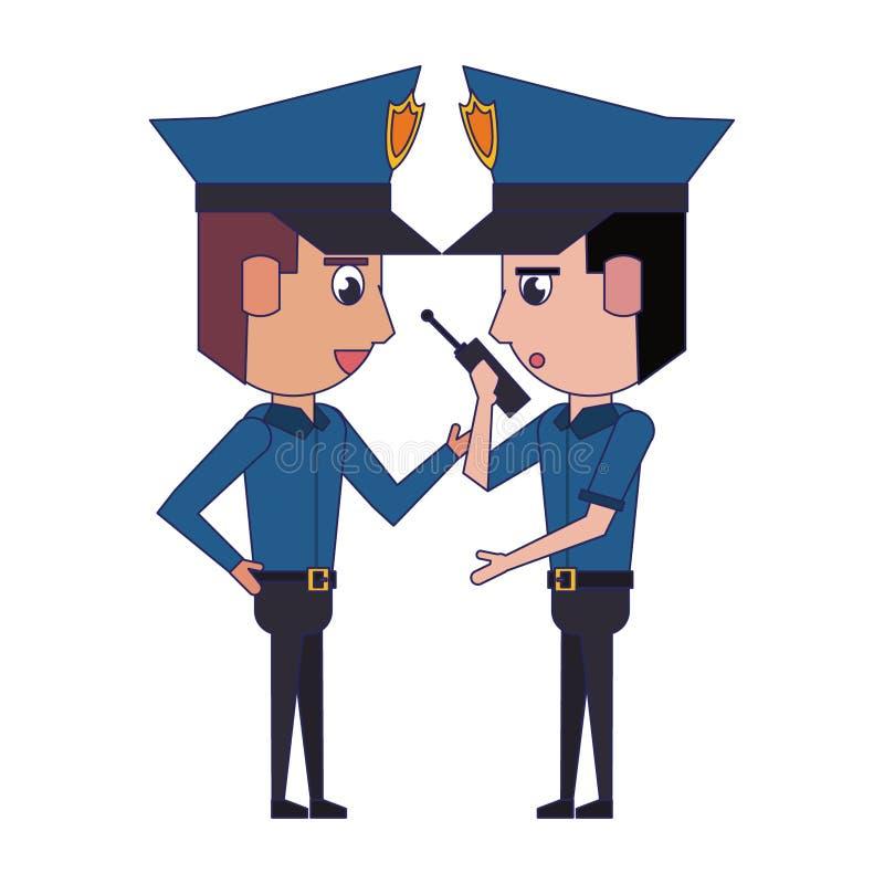Policemen working avatar cartoon character blue lines. Two policemen working policeman using radio communicator avatar cartoon character vector illustration royalty free illustration