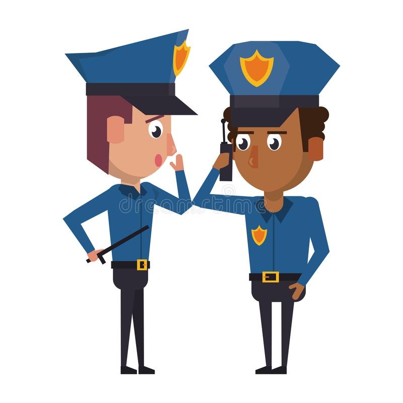 Policemen working avatar cartoon character. Two policemen working afroamerican policeman using a radio communicator the avatar cartoon character vector royalty free illustration