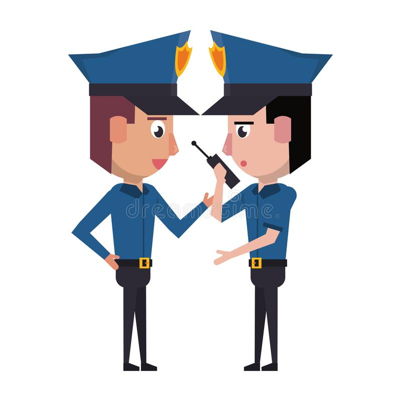 Policemen working avatar cartoon character. Two policemen working policeman using radio communicator avatar cartoon character vector illustration graphic design royalty free illustration