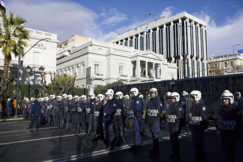 Policemens em Atenas 18_12_08 fotografia de stock royalty free