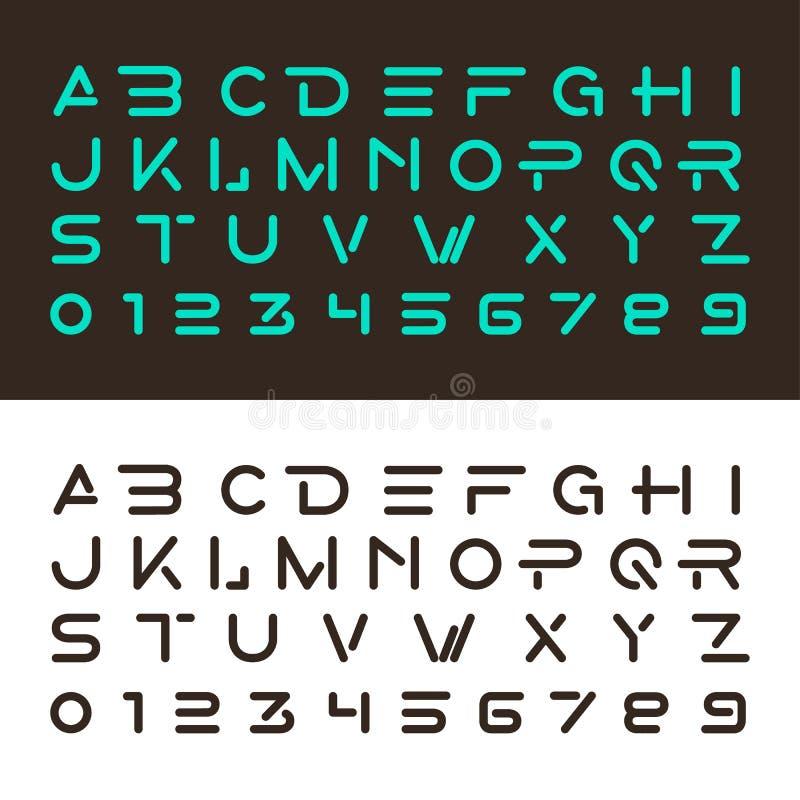 Polices alphabétiques et nombres illustration de vecteur