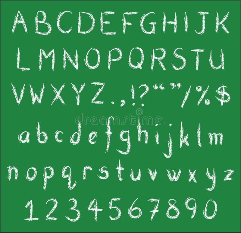 Polices blanches manuscrites de craie sur le tableau noir vert illustration de vecteur