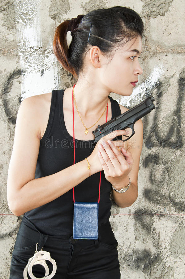 Policewoman in action. stock photo