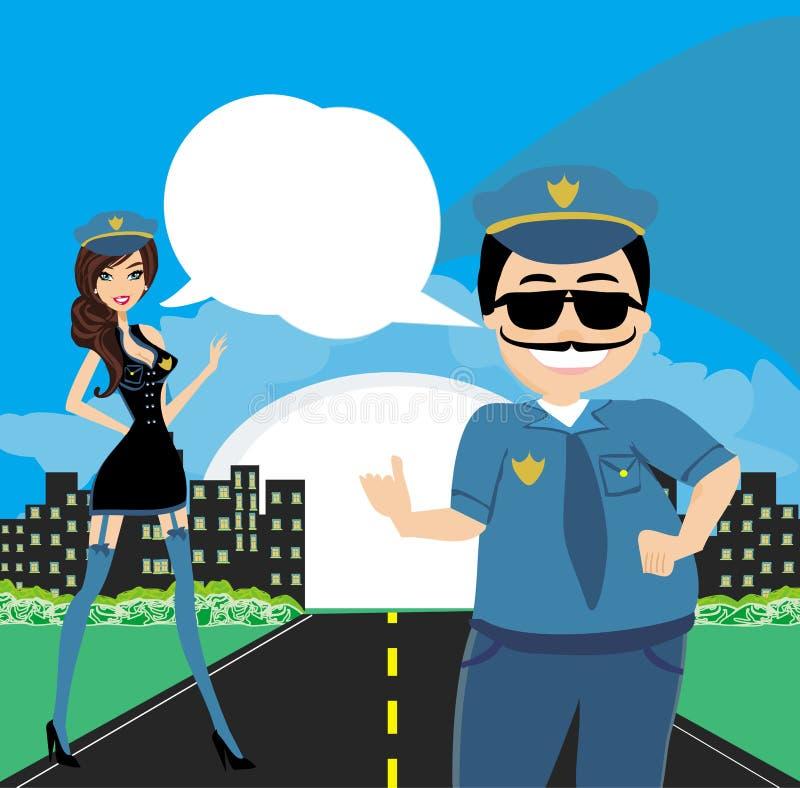 Policewoman and a policeman on duty vector illustration