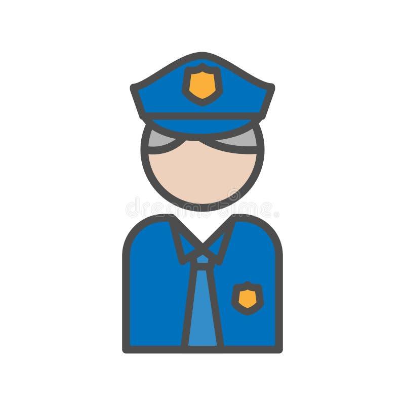 Polici i ochrony avatar ikony ludzie ilustracji
