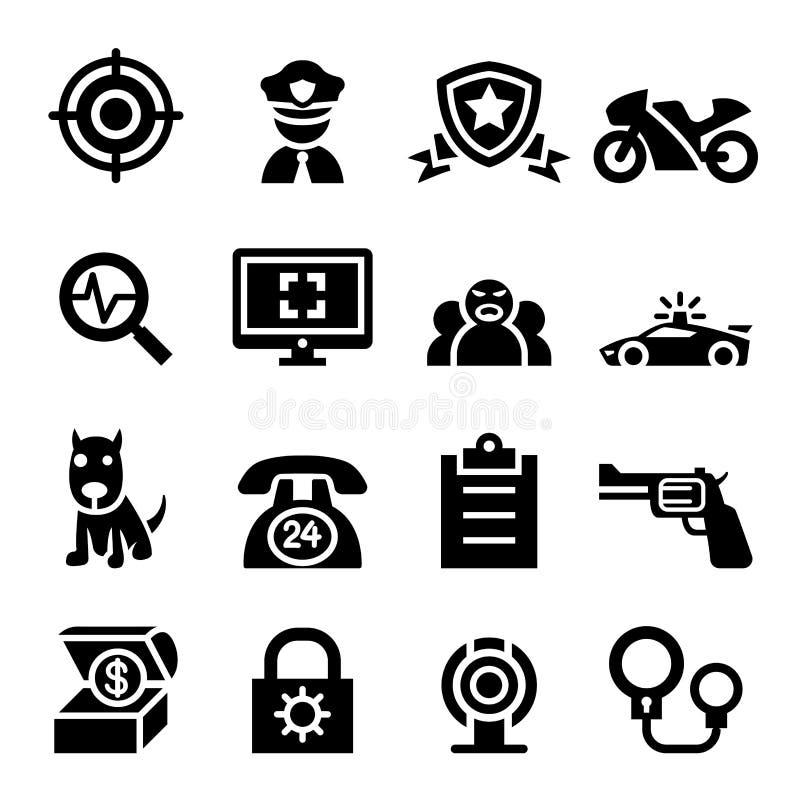 Polici & ochrony ikony set ilustracji