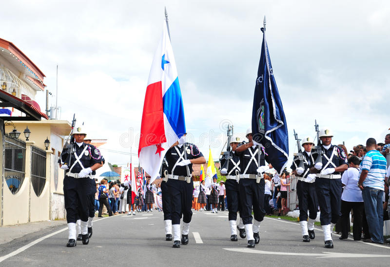 Policia Nacional. PENONOME, PANAMA- NOVEMBER 3: Penonome Cocle Panama. National Police force marched during Separation from Colombia celebration on November 3 royalty free stock images