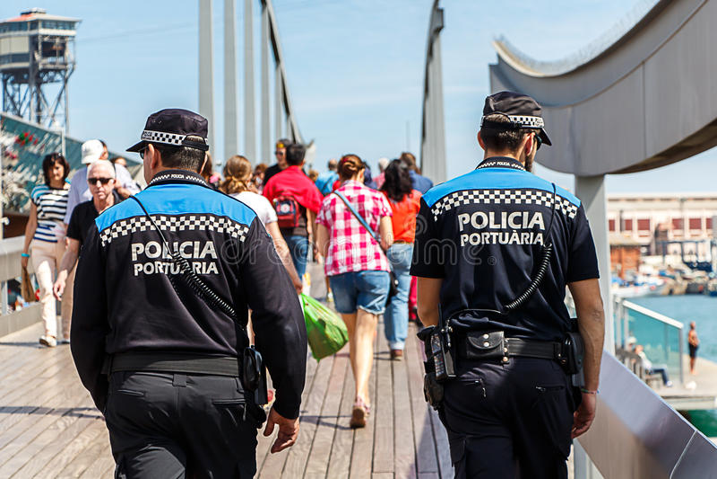 Policia Portuaria/polícia espanhola do porto imagem de stock
