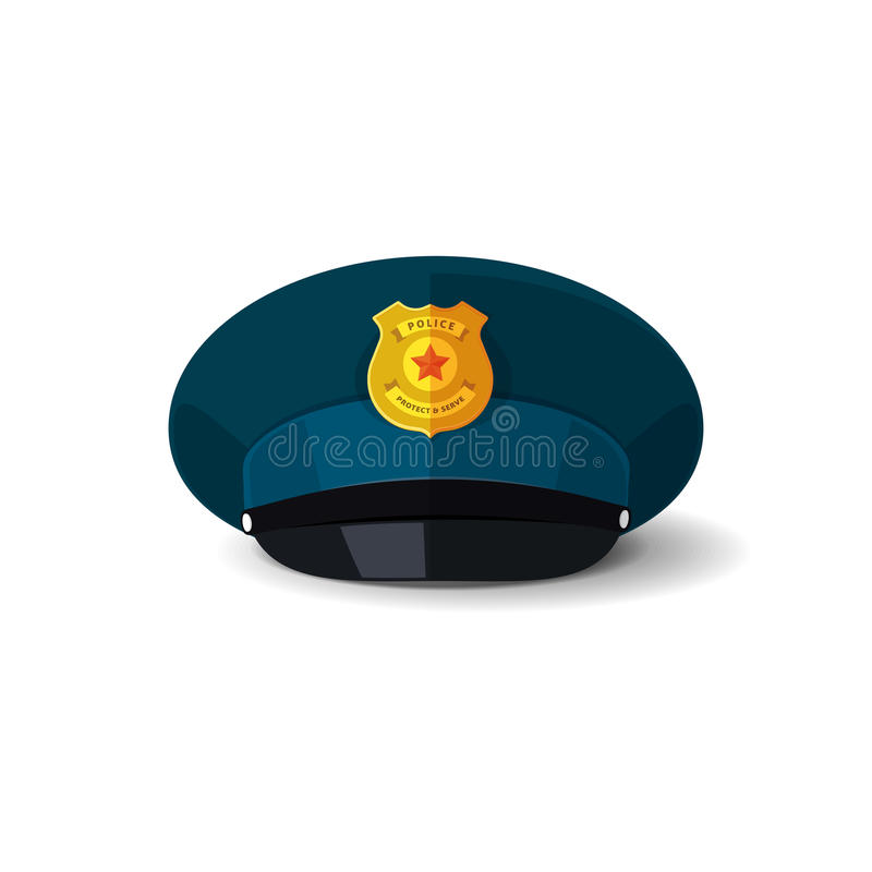 Policie a ilustração do vetor do chapéu, tampão da bobina do oficial com crachá ilustração stock