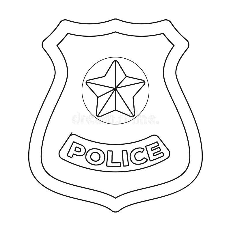 Policie o ícone do crachá no estilo do esboço isolado no fundo branco Ilustração do vetor do estoque do símbolo da polícia ilustração royalty free