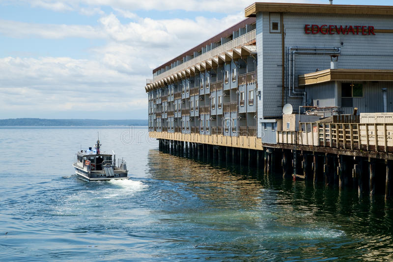 Policie o barco-patrulha em Seattle, WA, EUA fotos de stock royalty free