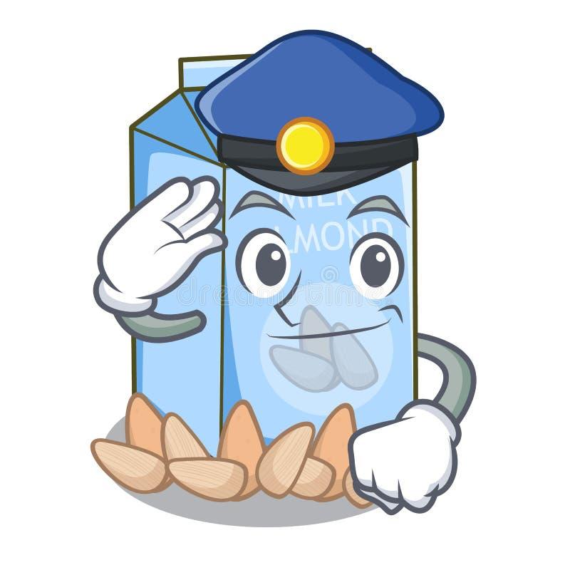 Policie o leite da amêndoa no vidro do caráter ilustração stock