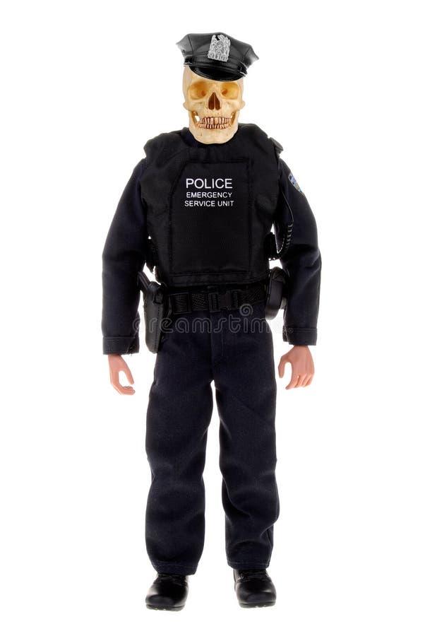 Policier avec le crâne images stock