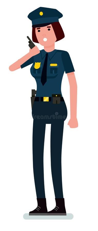 Policier caucasien de femme parlant sur la radio de talkie - walkie Police féminine tenant la radio de talkie - walkie Dessin ani illustration de vecteur
