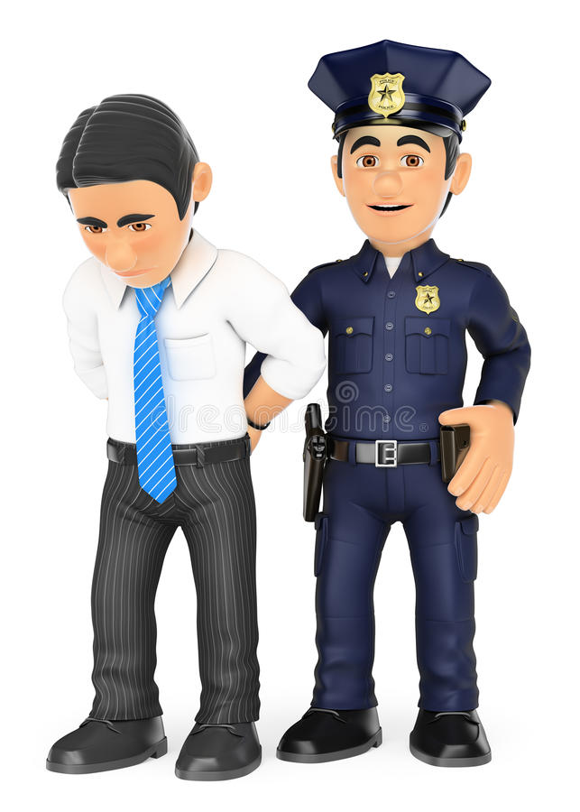 policier 3D arrêtant un voleur Criminel intellectuel illustration stock