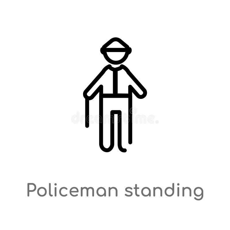 policier d'ensemble tenant l'icône de vecteur ligne simple noire d'isolement illustration d'élément de concept de personnes Vecte illustration stock