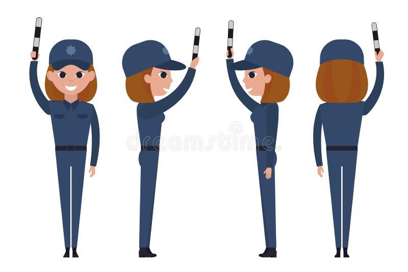 Policier de fille d'isolement sur le fond blanc Le contrôleur du trafic avec une tige rayée a augmenté  illustration de vecteur