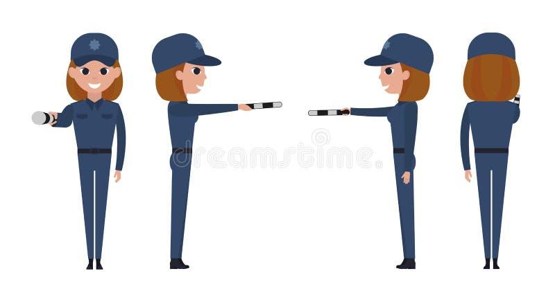 Policier de fille Le contrôleur du trafic tient une tige rayée dans un bras tendu illustration libre de droits