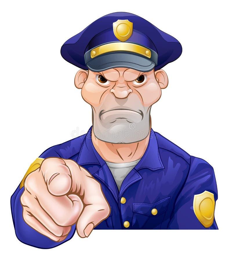 Policier de pointage fâché illustration de vecteur
