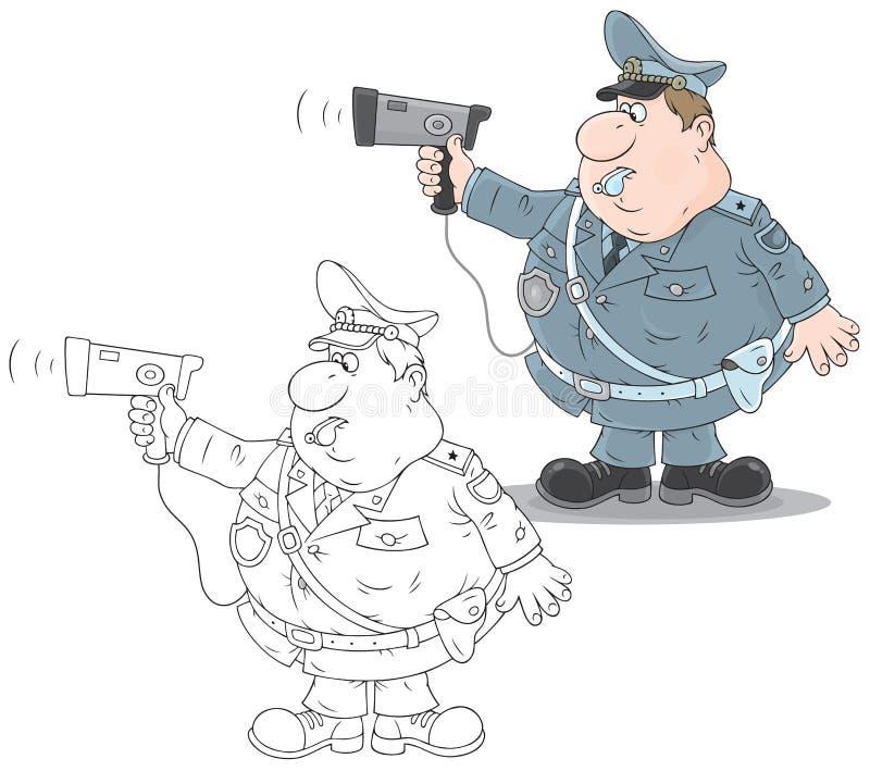 Policier de trafic avec un radar illustration de vecteur