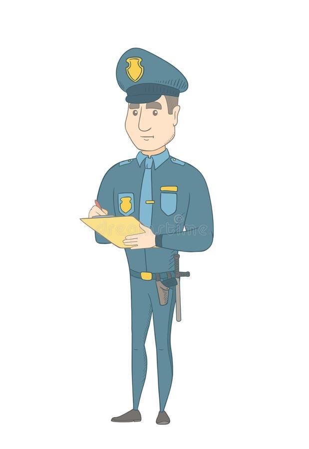 Policier de trafic caucasien écrivant la facture fine illustration stock