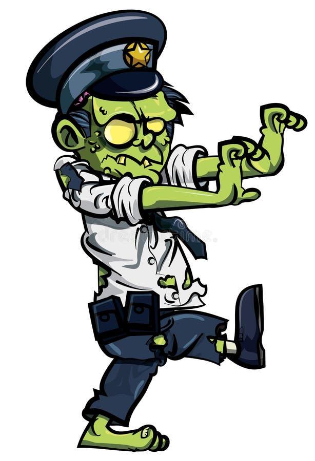 Policier de zombiw de dessin animé illustration libre de droits