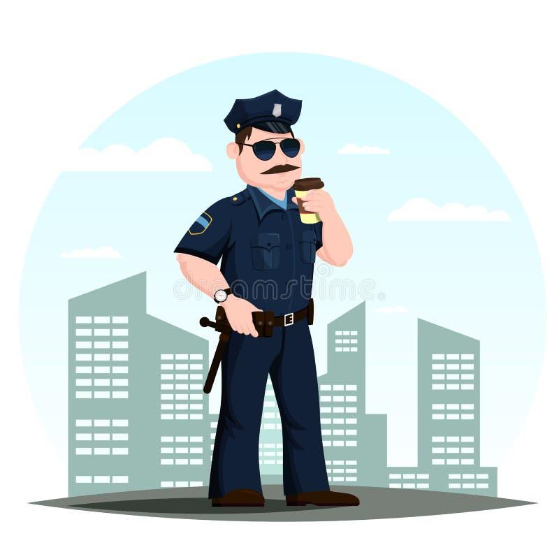 Policier ou agents de police américains avec du café illustration libre de droits