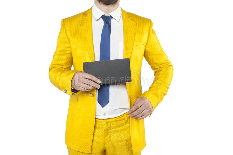 Policies in a gold suit boasts envelope. Isolated on the withe background stock photography