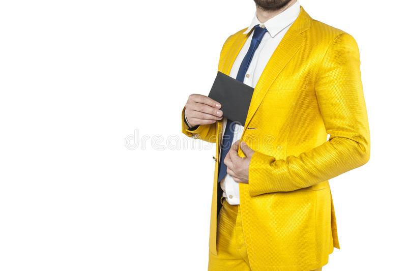 Policies in a gold suit hides the envelope. Isolated on the withe background stock image