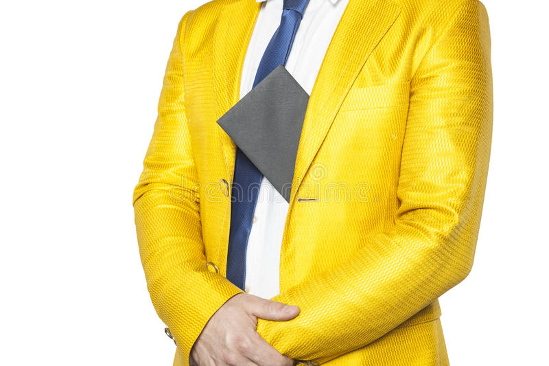 Policies in a gold suit holding bribes. Isolated on the withe background royalty free stock photography