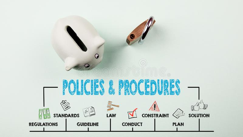 Policies and Procedures Concept. Chart with keywords and icons. Piggy bank on green background stock photo
