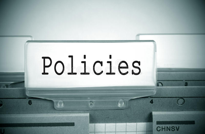 Policies Register Folder Index royalty free stock photography