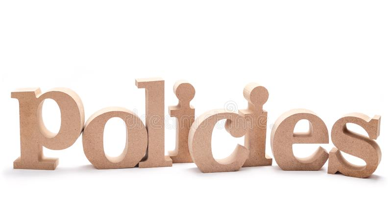 Policies Wood Word royalty free stock photography