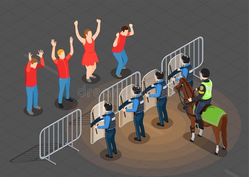Policja I ludzie Isometric tła ilustracji