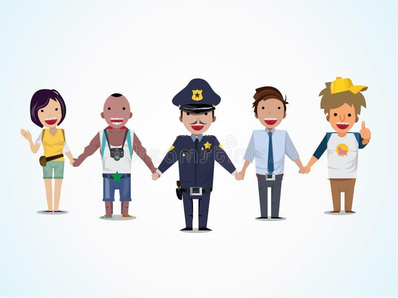 Policja i ludzie trzymamy rękę - ilustracja wektor