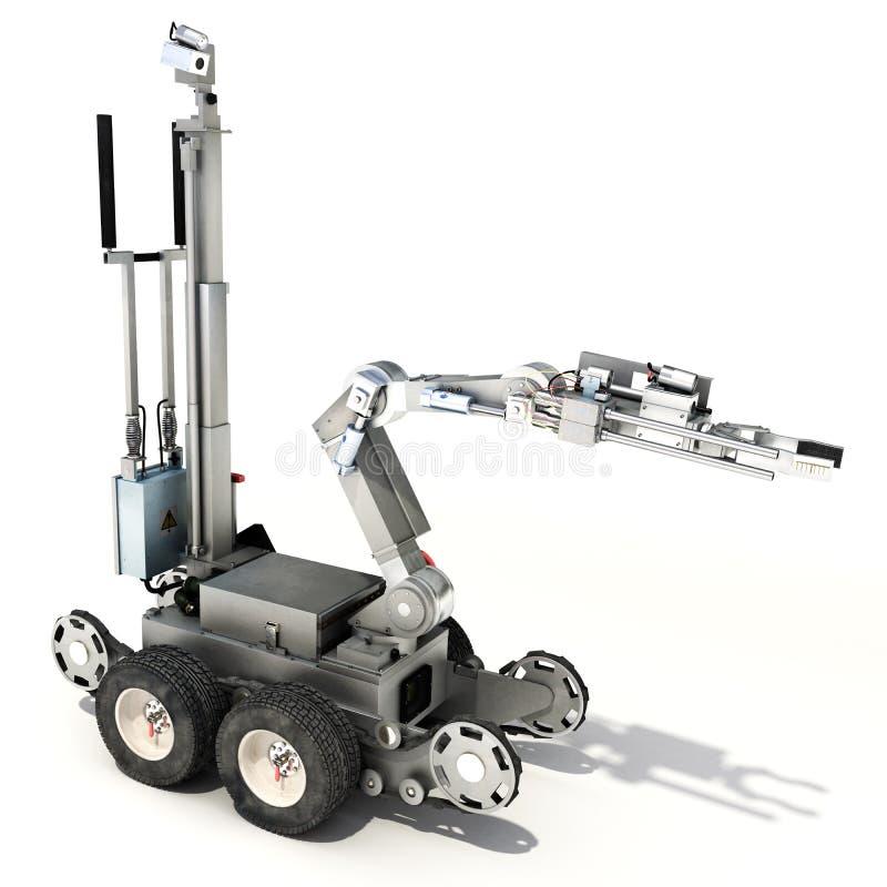 Policja lub wojskowy kontrolowaliśmy brygada antyterrorystyczna robot na odosobnionym białym tle ilustracja wektor