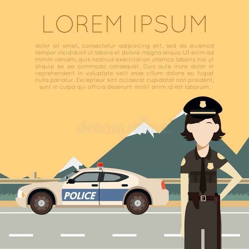 Policja na drodze banner7 royalty ilustracja
