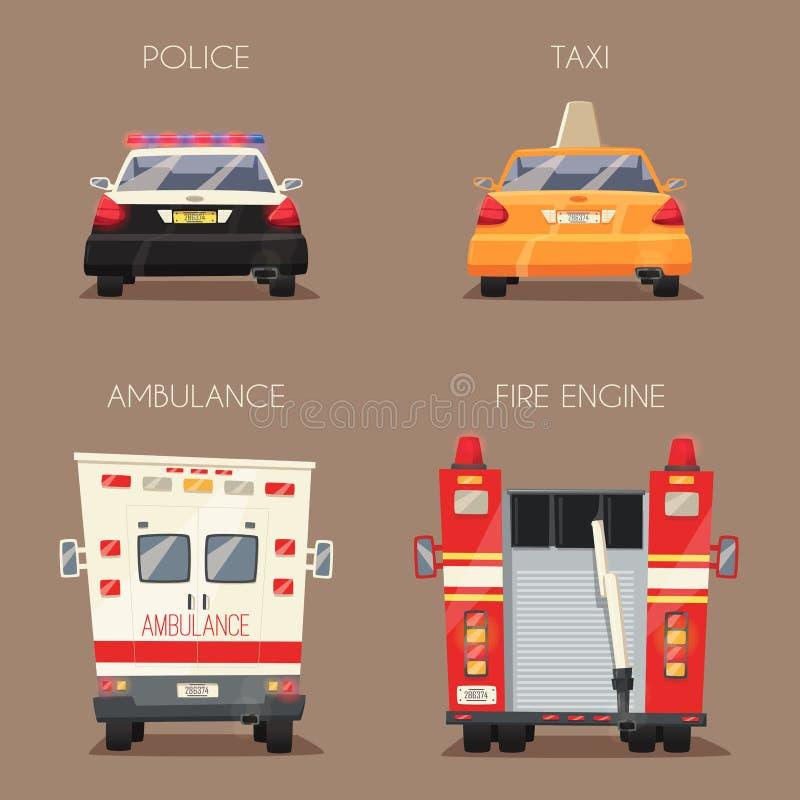 Policja, taxi, Ambulansowy samochód i Firetruck, chłopiec kreskówka zawodzący ilustracyjny mały wektor ilustracji