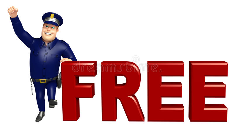 Policja z Bezpłatnym znakiem ilustracja wektor