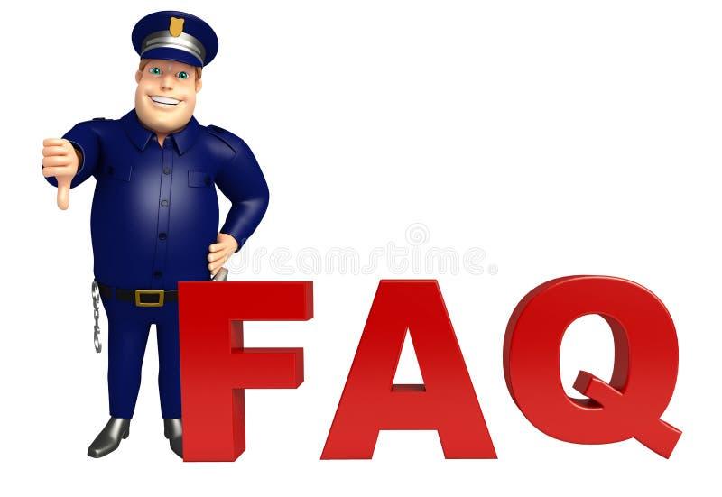Policja z FAQ podpisuje ilustracja wektor