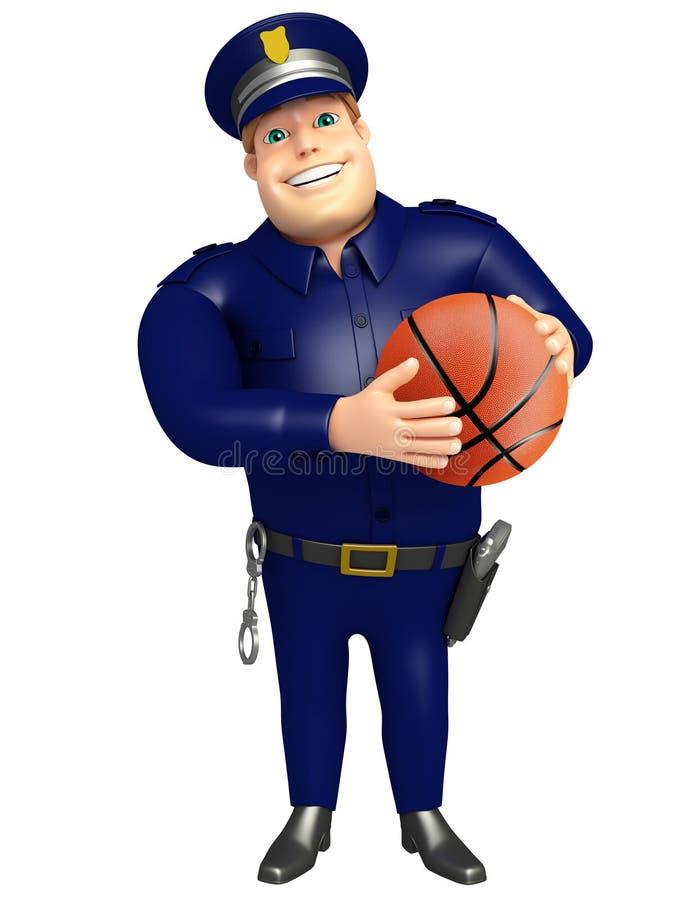 Policja z Koszykową piłką royalty ilustracja