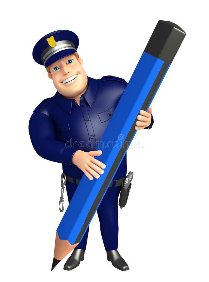Policja z ołówkiem ilustracja wektor