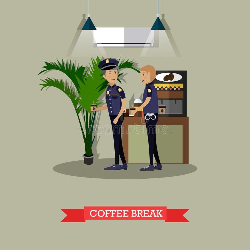 Policjanci bierze kawowej przerwie wektorową ilustrację w mieszkaniu projektują ilustracja wektor