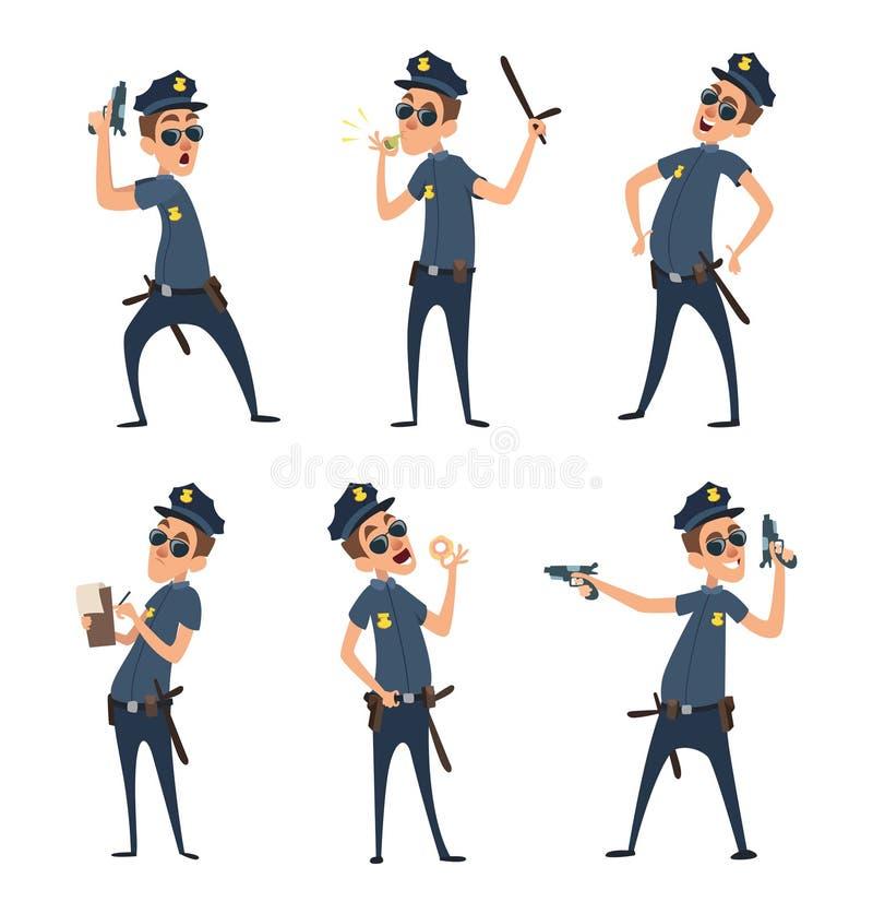Policjanci w różnych akcj pozach Ochroniarzi w kreskówka stylu ilustracja wektor