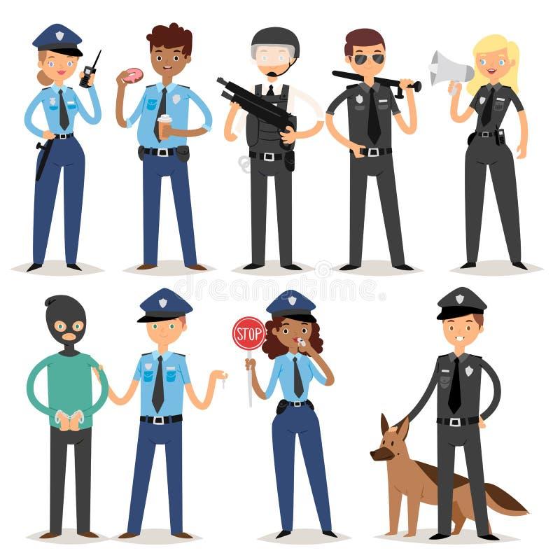 Policjantów charakterów kreskówki mężczyzna pilice osoby munduru policjanta pozyci ochrony wektoru ilustraci śmieszni ludzie royalty ilustracja
