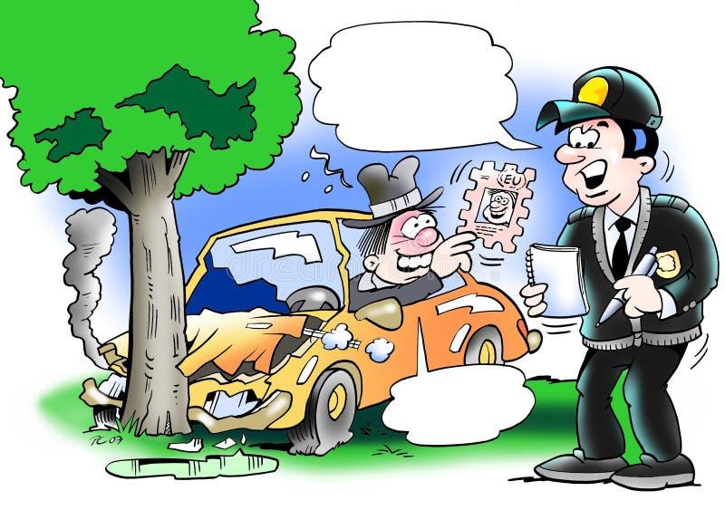 Policjantów raporty wypadek ilustracja wektor