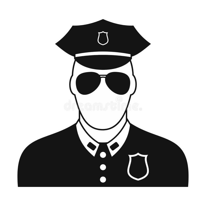Policjant czarna prosta ikona royalty ilustracja