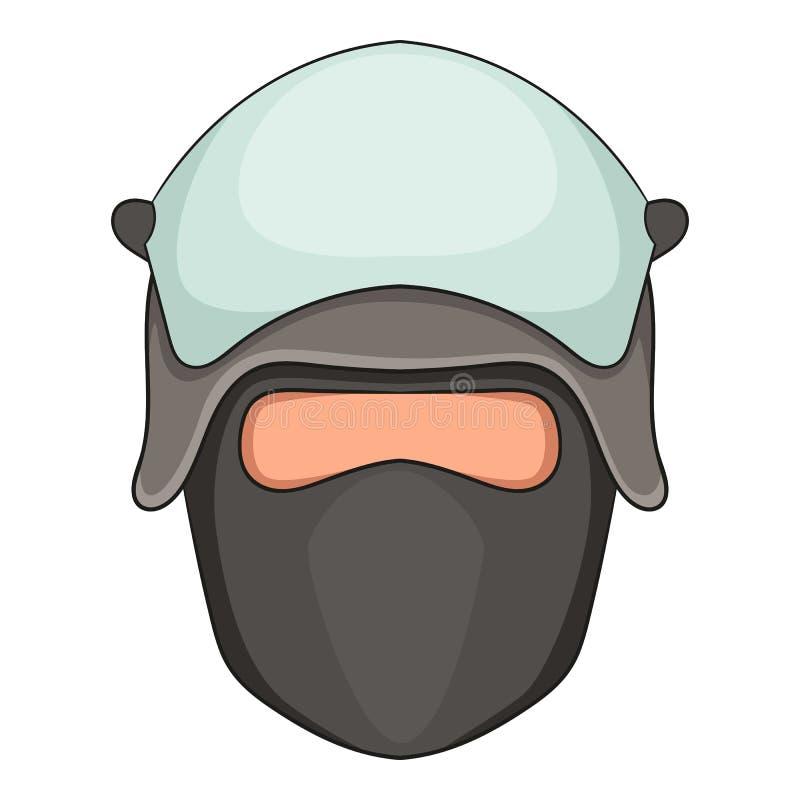 Policjant głowa w twarzy maski ikonie, kreskówka styl royalty ilustracja